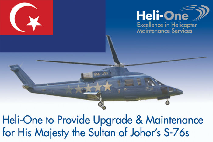 Canada based Heli-One, CHC MRO service, will  design, certificate and install a new glass cockpit and VVIP interior to His Majesty, the Sultan of Johor of Malaysia 2 S-76B helicopters