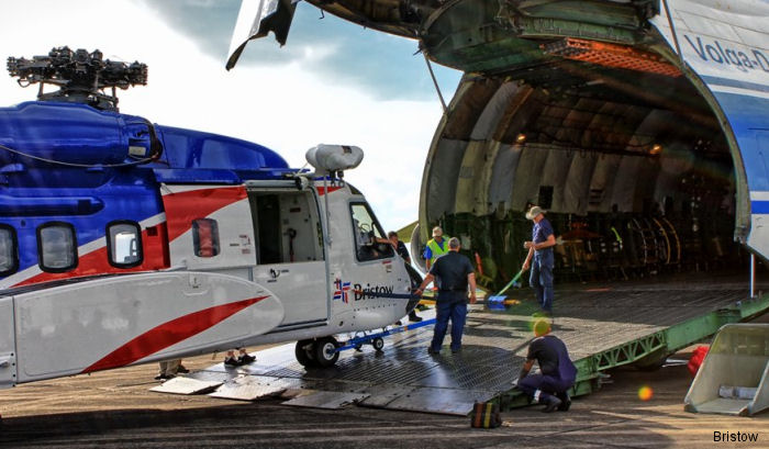 Two Bristow's Sikorsky S-92 helicopters were transported by an Antonov 124 from New Iberia, Louisiana to Norway