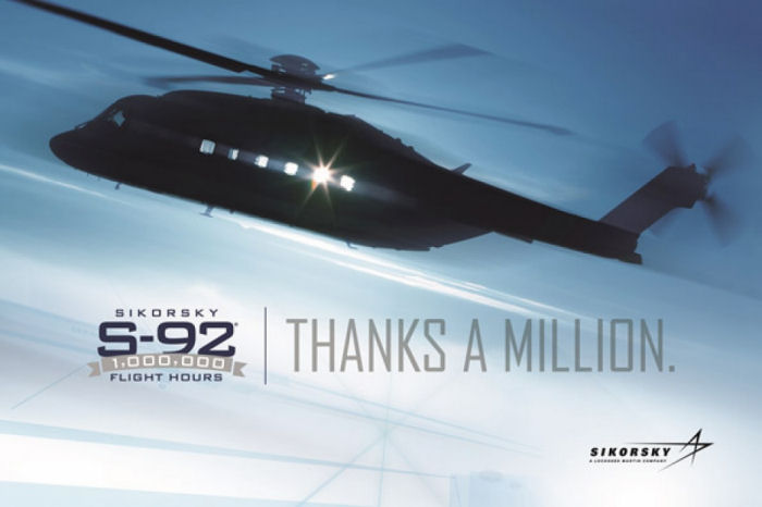 The more than 275 S-92 helicopters delivered worldwide since 2004 surpassed one million flight hours