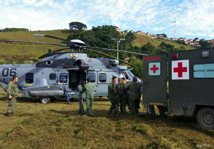 The Brazilian navy EC725 / H225M helicopters performed emergency aeromedical evacuations last May