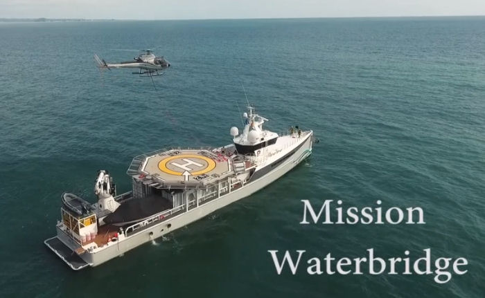Yacht Umbra, from Dalio Foundation and managed by Woods Hole Oceanographic Institution, is in Ecuador under Operation Waterbridge to assist in recovery efforts after last April earthquake