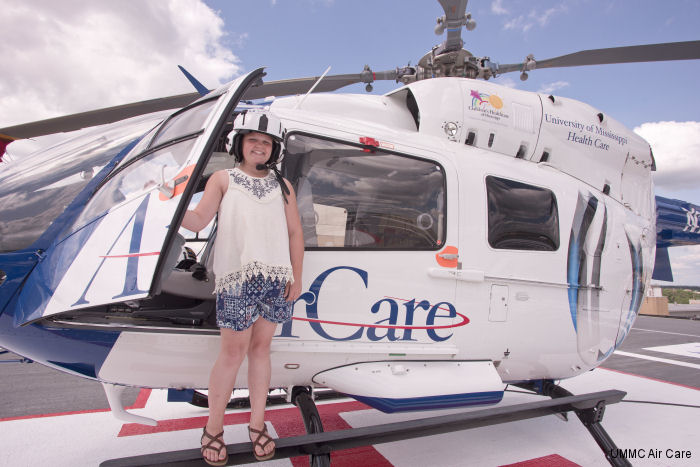 Mathiston resident Abby Williams, 11, took a life-saving flight on the University of Mississippi Medical Center AirCare EC135 in December 2015