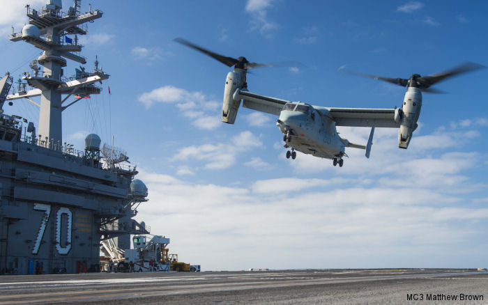 Aircraft carrier USS Carl Vinson (CVN 70) completed a Fleet Battle Experiment (FBE) for the future Navy variant CMV-22B Osprey between July 22 and August 4