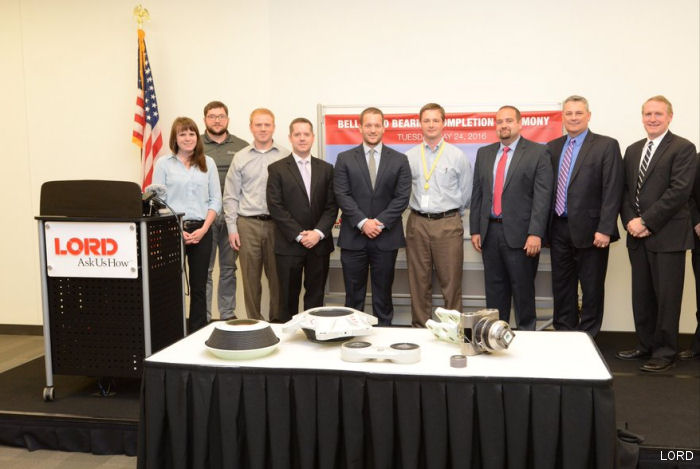 LORD Corp celebrated the completion of the first ship-set of the V-280 Valor elastomeric rotor bearings to Bell Helicopter for JMR-TD program