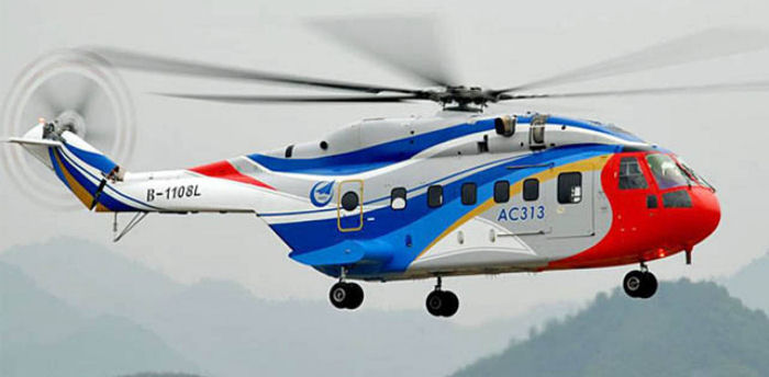 AVIC announced that China's first heavy-lift helicopter for civilian purpose, the AC313, has passed all airworthiness tests