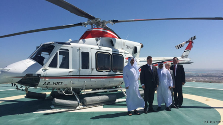 Abu Dhabi Aviation is the largest Bell commercial helicopter operator in the Middle East, now operating 27 412 and 7 212, has achieved over 1 million flight hours