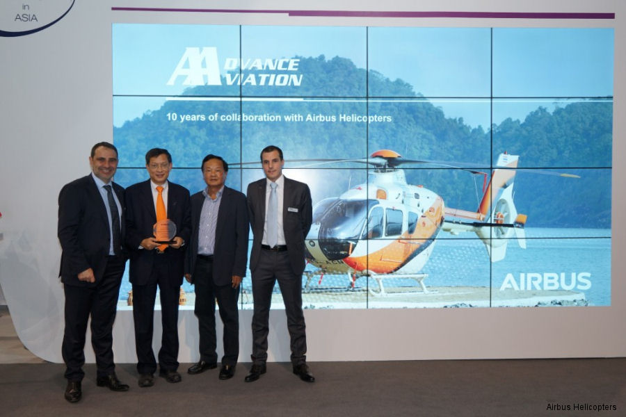 From left to right: Philippe Monteux, Airbus Helicopters  Senior Vice President and Head of Region - South East Asia & Pacific, Mr Chai Nasylvanta and Vutichai Singhamany from Advance Aviation and Mathieu Debrand, Head of Airbus Helicopters in Thailand
