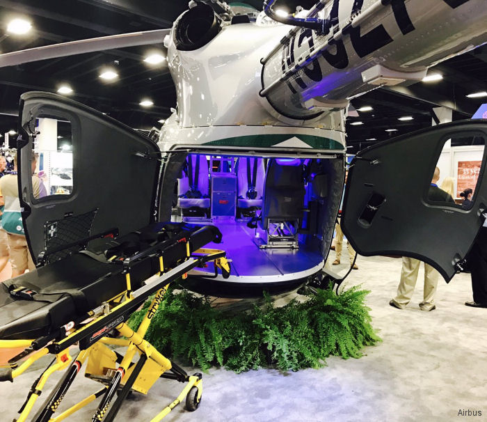 Airbus Helicopters featuring the H130 and H145 in emergency medical services (EMS) configuration at the Air Medical Transport Conference 