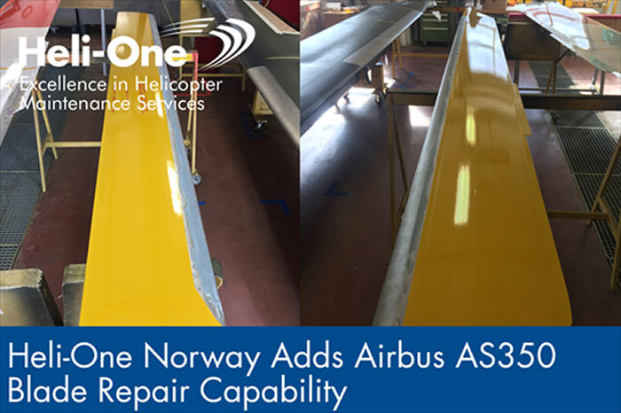 Heli-One, CHC MRO provider, adds  AS350 blades to their repair and overhaul capabilities in Norway