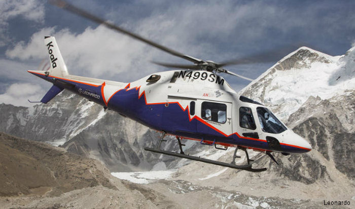 Defying bad weather, the AW119Kx Koala in a demo tour in Nepal   rescued two people stranded in Gora Shep (16150 ft / 4922 m)