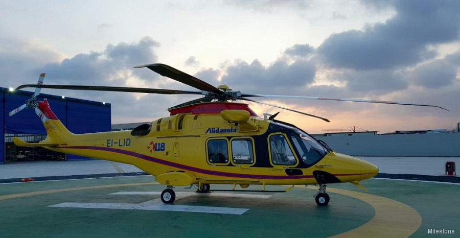 Italy's Alidaunia and Milestone from Ireland renewed leasing of one AW169 and added a second to be delivered in 2018. Both used for emergency medical services