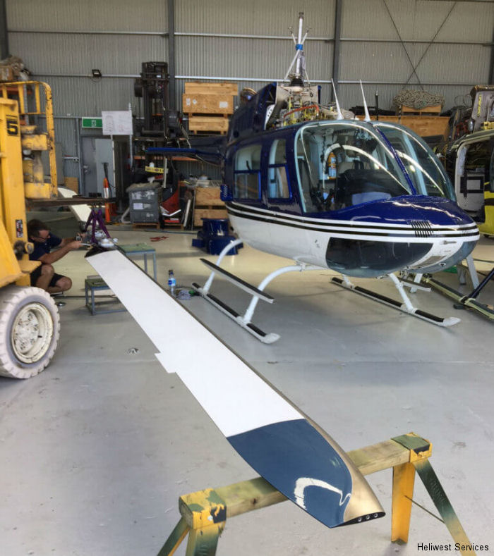 Successful first flight of Van Horn composite 206B Jet Ranger main rotor blades in Australia