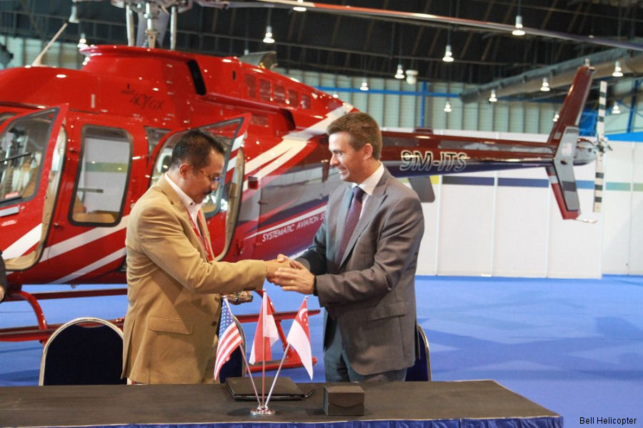 Air Pacific Utama becomes first Bell 407GXP operator in Indonesia. Signs fleet for Customer Advantage Plan (CAP), the first Asia-based customer to sign for the new service solution