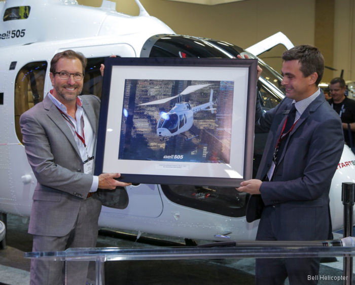 Bell Helicopter and Safran celebrated the first delivery of the Bell 505 Jet Ranger X during Heli-Expo 2017 which goes to the owner of Pylon Aviation
