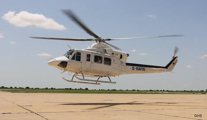 "German GHS Bell 212 and 412 under contract with UN World Food Programme (WFP) in Nigeria respond after an Air force Alpha Jet  strikes a refugees camp in a so-called ""friendly fire incident"""