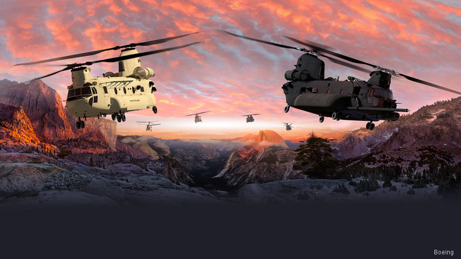 Boeing contracted to build 3 CH-47F Block II Chinooks. Testing begins in 2019 and eventually more than 500 US Army helicopters will be upgraded from 2023