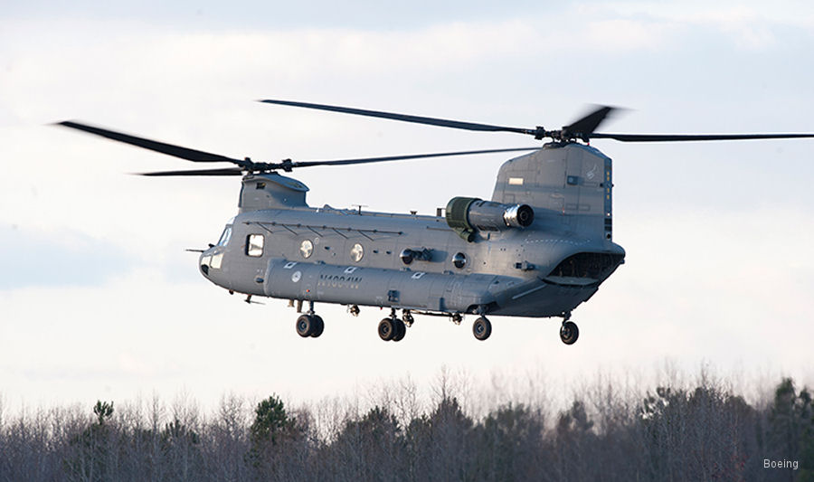 Boeing signed agreement to upgrade 6 Royal Netherlands Air Force ( RNLAF ) CH-47D Chinook helicopters to the F configuration from 2021