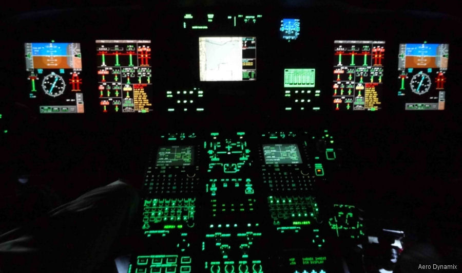 AW139 cockpit with NVIS compatible lighting system that is usable during all phases of operation, day, night and with night vision goggles (NVG)