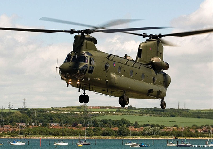 Vector Aerospace, MRO services provider, celebrating 35th anniversary servicing the RAF Chinook helicopter at Fleetlands, Gosport and Almondbank