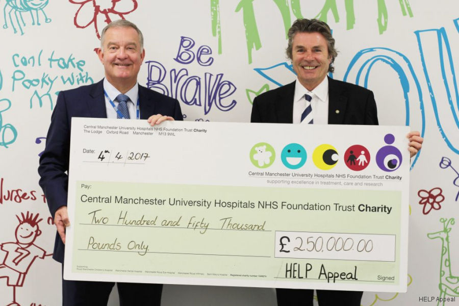 Central Manchester University Hospitals NHS Foundation Trust (CMFT Charity) has received its second instalment for new helipad from the HELP Appeal's £1,000,000 pledge