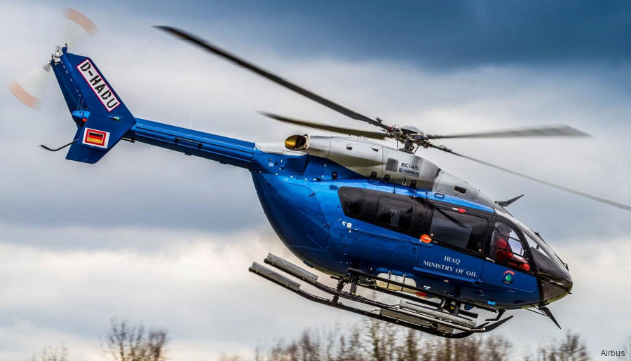 Airbus delivered fourth and last EC145T1 to the Iraq Ministry of Oil from a contract signed in 2014. To be operated by government owned company South Oil in Basrah province