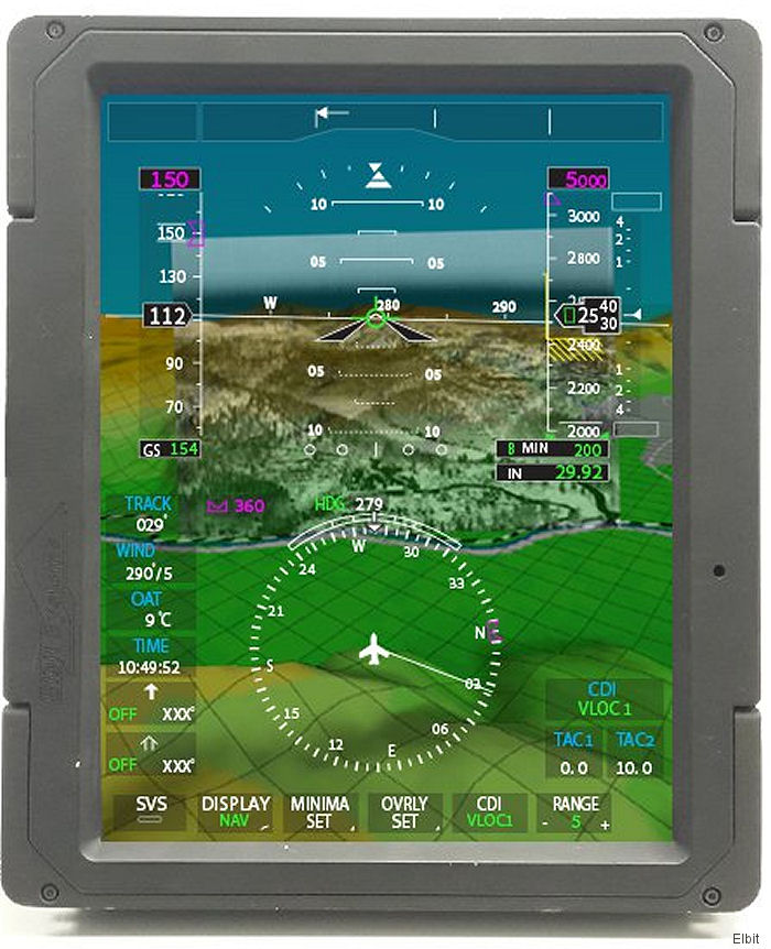 The combined display will be offered as a software upgrade, allowing real-time visualization on aircraft primary displays