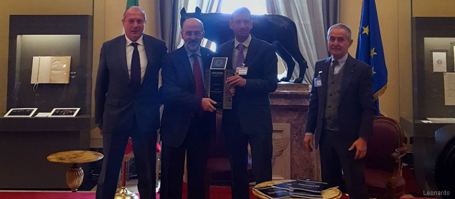 "Italy's Award for Innovation was granted to Leonardo for its  electric tail rotor to reduce environmental impact developed within the European ""Clean Sky"" programme"