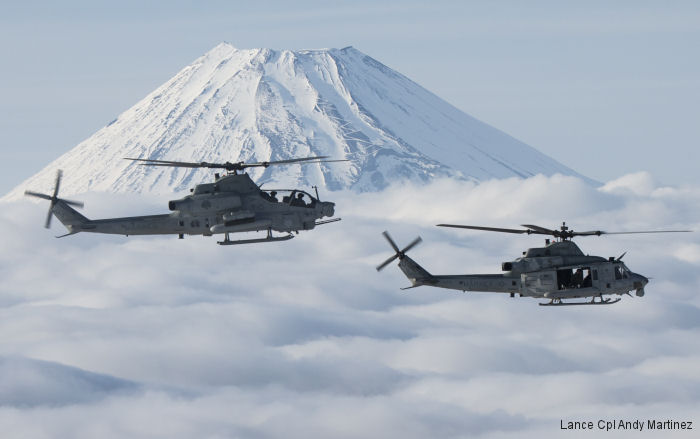 Marine Light Attack Helicopter Squadron HMLA-267 used new auxiliary fuel tanks in the AH-1Z Viper and UH-1Y Venom for a 25% range increase during recent flights based from Okinawa, Japan