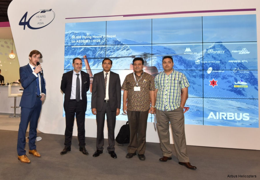 From left to right: Francois Bazin and Philippe Monteux, from Airbus Helicopters Southeast Asia, Capt. Hira Babu Dahal from Manang Air, Mr Sumang Pandey from Fishtail Air, Capt. Anil Rawal from Air Dynasty