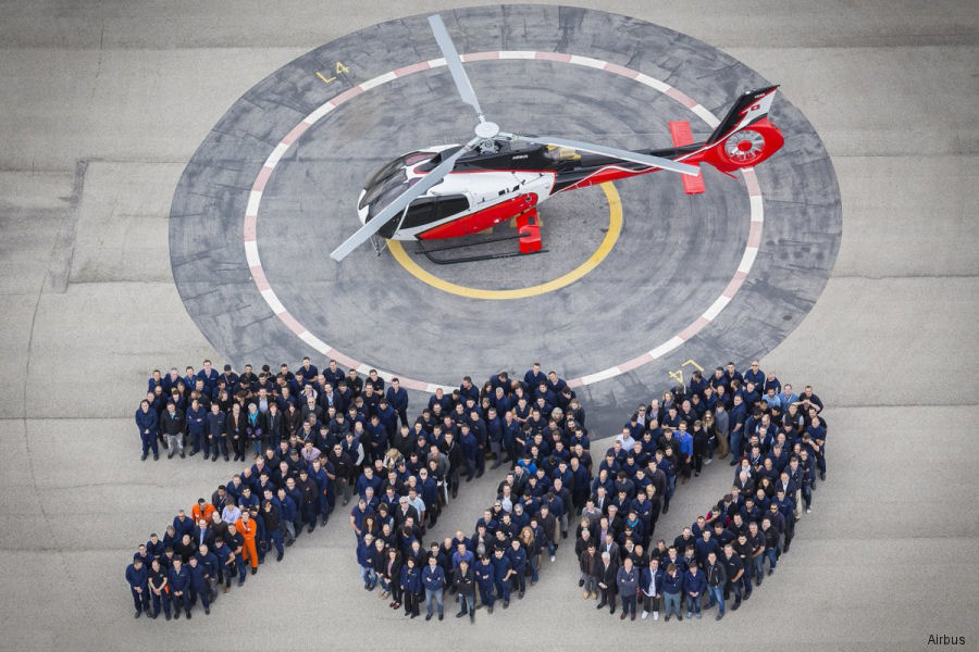 Airbus roll-out of the 700th H130 helicopter. Since entered service back in 2001, the EC130B4/T2 fleet has so far accumulated more than 1.8M flight hours with 340 operators worldwide