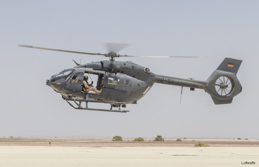 Luftwaffe Squadron 64 tested the new H145M / EC645T2 helicopter in the Jordan desert