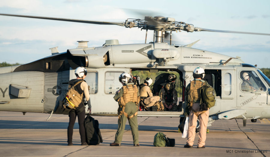 US Navy Helicopter Sea Combat Squadrons (HSC) 7 and 28 deployed their MH-60S Seahawks at Easterwood Airport in Texas rescuing 227 people in their first day