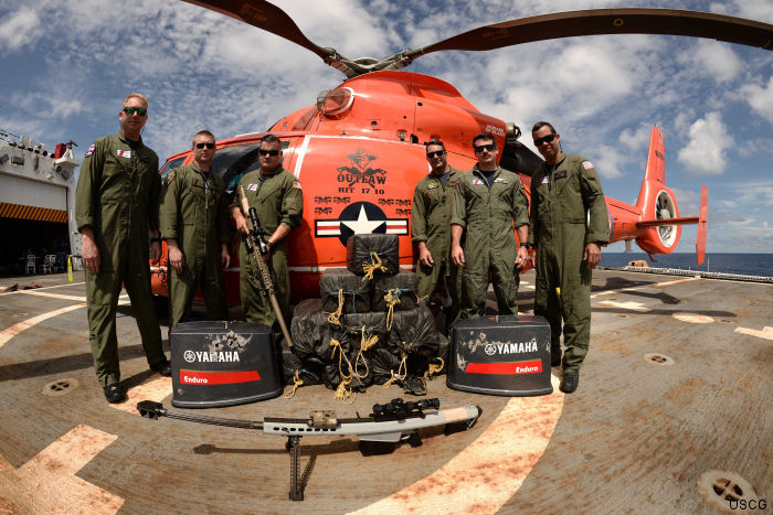 US Coast Guard's Helicopter Interdiction Tactical Squadron (HITRON) has interdicted 500 vessels transporting approx 422 ton of cocaine and 27 ton of marijuana since 2010