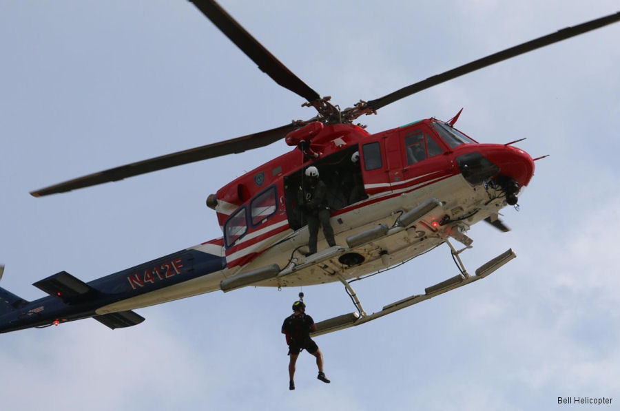 The Houston Police Dept used their Bell 412 helicopters to provide transportation and rescue services in the flooded city after Hurricane Harvey