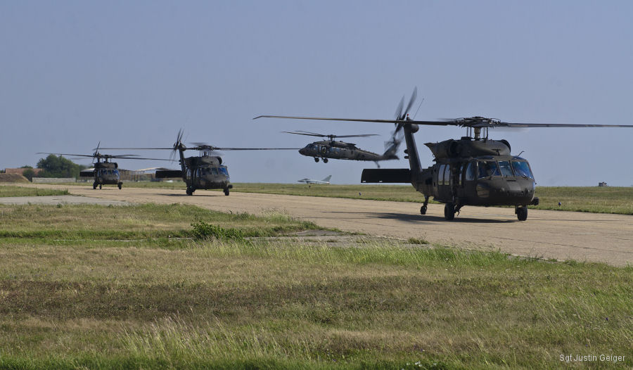 US Army 2-10 Assault Helicopter Battalion, 10th Combat Aviation Brigade flew 15 UH-60 Black Hawks from Plovdiv, Bulgaria into Mihail Kogalniceanu Air Base, Romania