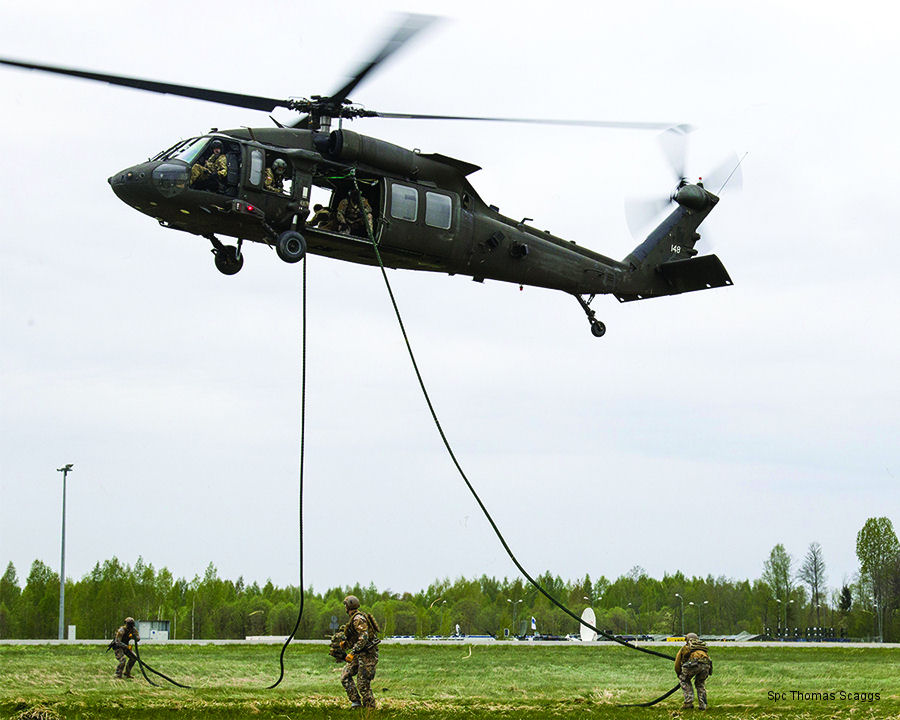 US Army 2-10 AVN (Black Hawk) and 3-10 GSAB (Chinook), 10th Combat Aviation Brigade in rotation deployment to Europe, provided air support to Latvian Special Operations Forces training in Lielvarde