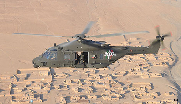 The first NH90 arrived in August 2012 by C-17. Italian Army's Task Group Fenice also flew Chinook and Mangusta