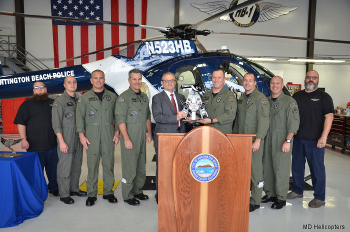 MD Helicopters celebrates 70,000+ accident-free flight hours by the California's Huntington Beach Police MD520N fleet
