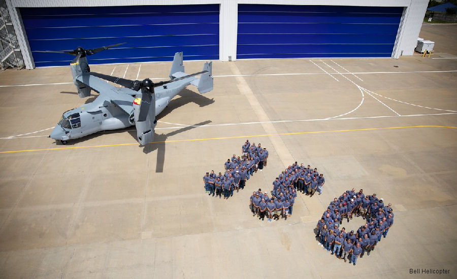 Bell Helicopter facility at Amarillo, Texas celebrates the 350th delivery of the Bell/Boeing Osprey, a MV-22B for the US Marine Corps