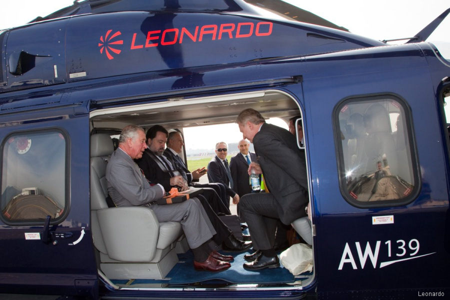 Leonardo provided an AW139 helicopter to support HRH Prince Charles' tour of Italy to various locations in Northern and Central Italy