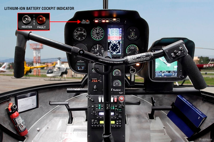 Robinson Helicopter Company added the True Blue Power TB17 Lithium-ion battery to its R66 options.