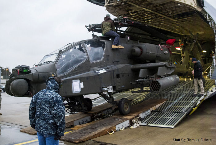 First 4 AH-64 Apaches arrived to Ramstein AFB in C-5M Galaxy transport