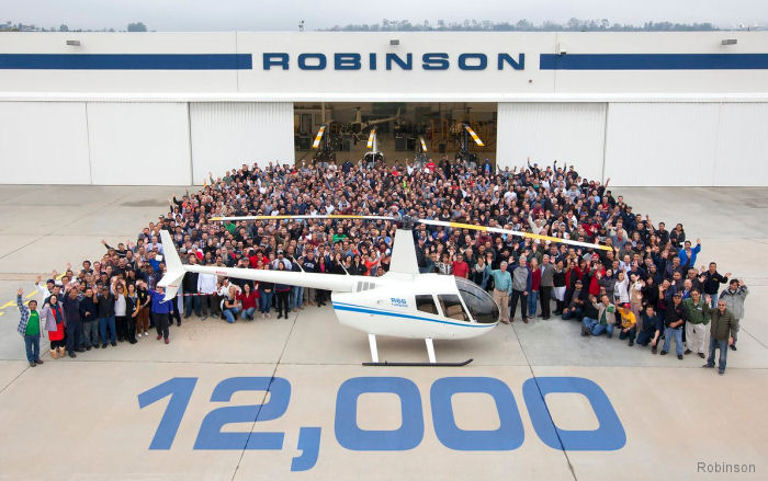 Robinson Helicopter Company delivers 12,000th helicopter since starting production back in 1979. It was a R66 for South Africa.
