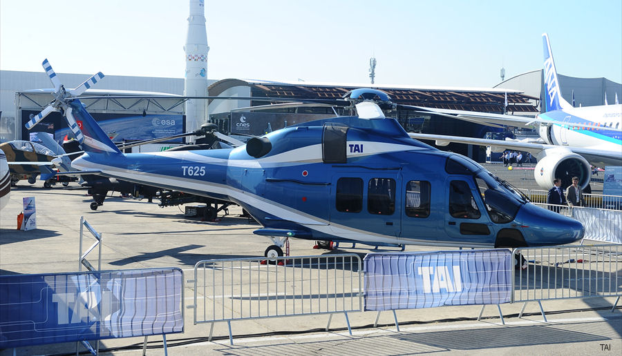Turkish Aerospace Industries (TAI) displayed for the first time the  T625 Multi-Role Helicopter  at the Paris Air Show 2017