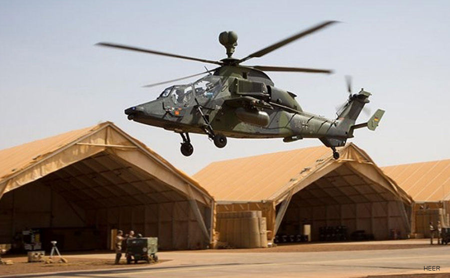 German Army Tiger helicopter, part of peacekeeping mission MINUSMA in Mali, crashed killing the two crew members