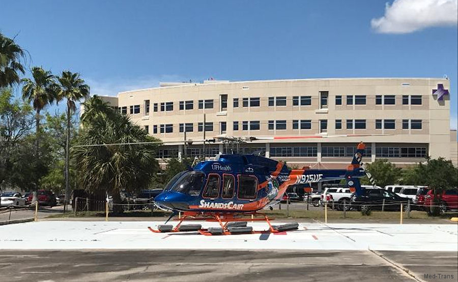 University of Florida Health's ShandsCair helicopter, operated by Med-Trans Corp, begins partnernship with the Bay Medical Sacred Heart