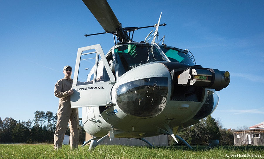 Federal Aviation Administration (FAA) granted a Special Airworthiness Certificate to Aurora's optionally-piloted aircraft (OPA) UH-1H Huey  helicopter