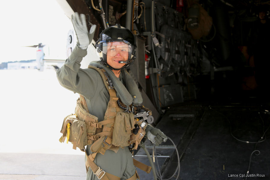 Sgt 1st Class Midsru Miyazaki to be Japan's first MV-22 Osprey crew chief after complete training with VMMT-204 at MCAS New River, North Carolina