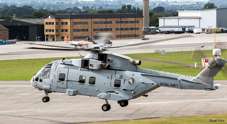 First former RAF Merlin in new configuration HC4 was displayed at the  Yeovilton Air Day 2017. Junglie Merlins, 25 to be delivered to the Commando Helicopter Force by 2020, are painted in pale grey