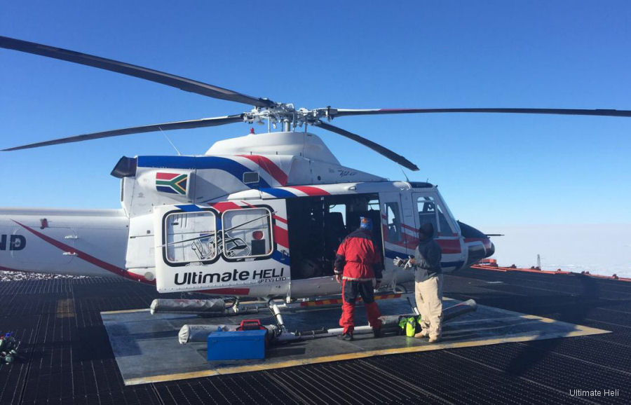 Ultimate Heli 2 Bell 412EP deployed to the white continent on early December aboard the SA Agulhas II scientific ship in support of South African Antarctic program. Will be back by end of February